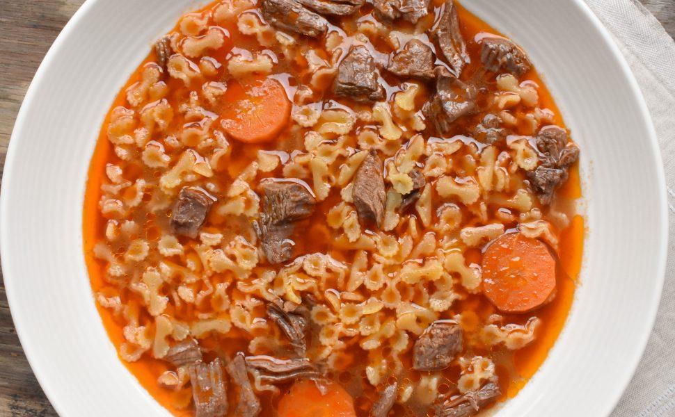 Brodo di carne (beef soup) with farfalline pasta
