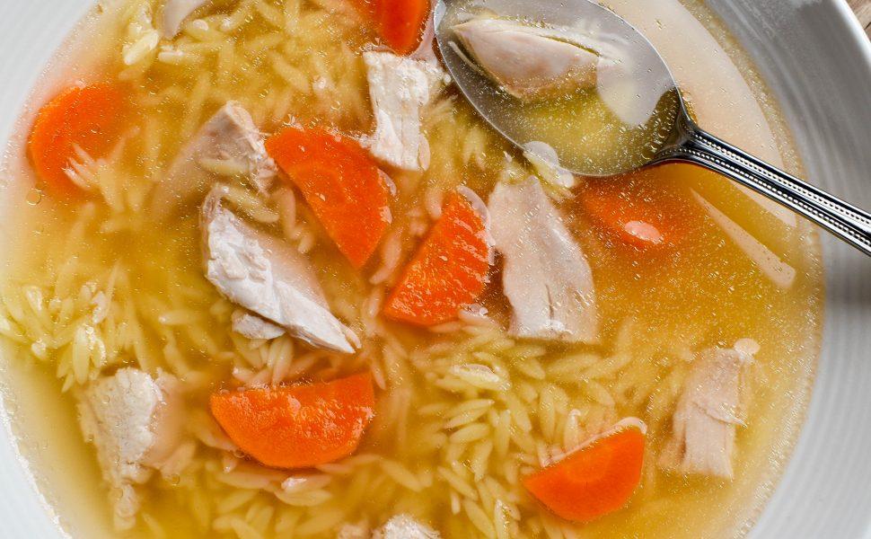 Brodo di pollo (chicken soup) with Risoni pasta