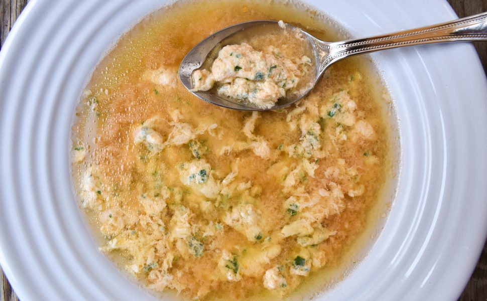 Chicken soup and 'stracciatella alla Romana' (Roman-style egg soup)