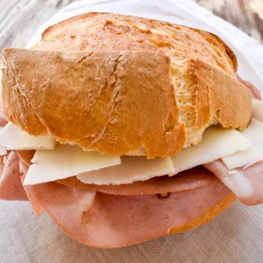 Panini with mortadella and provolone cheese