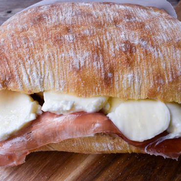 Panini with prosciutto and mozzerella