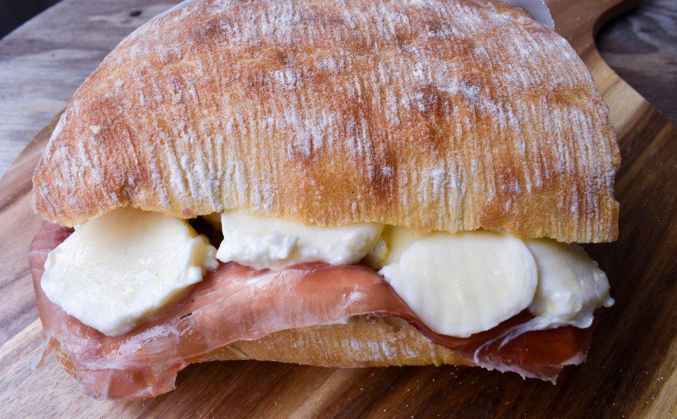 Panini with prosciutto and mozzerella