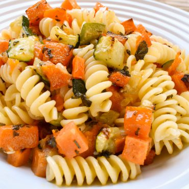 Fusilli pasta with 'vedure arrosto' (roasted vegetables)