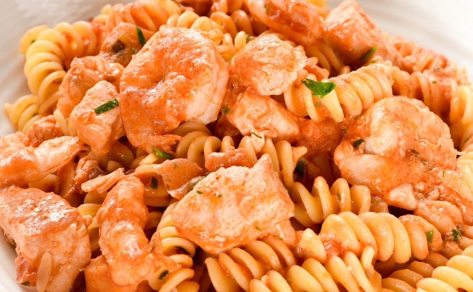 Fusilli pasta with salmon and baby prawns (shrimp)