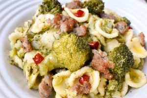 Orecchiette pasta with broccoli, Italian pork sausage and chilli