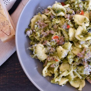 Orecchiette pasta with broccoli, Italian pork sausage and chilli