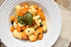 Potato gnocchi with oven roasted pumpkin and sage burnt butter sauce