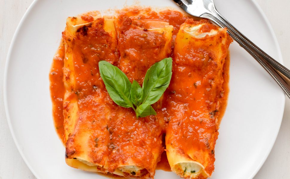 Ricotta and basil cannelloni
