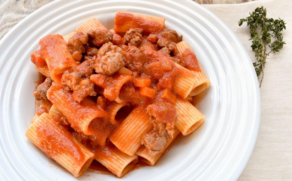 Rigatoni pasta with Italian sausage ragù