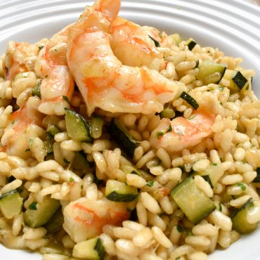 Risotto of zucchini and prawns