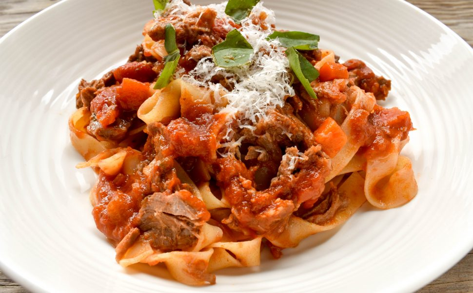 Tagliatelle pasta with braised beef ragù