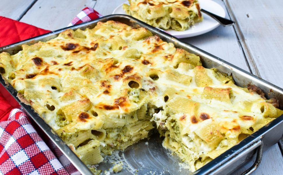 Creamy broccoli and pork sausage pasta al forno (pasta bake)