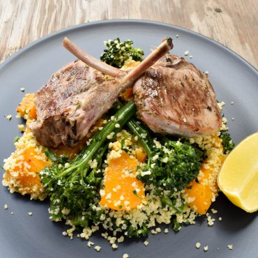 Lamb scottadito with roasted pumpkin and broccolini couscous