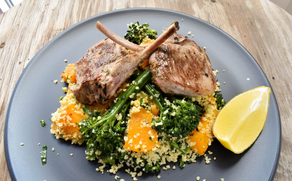 Lamb 'Scottadito' (cutlets) served with roasted pumpkin (squash) and broccolini couscous