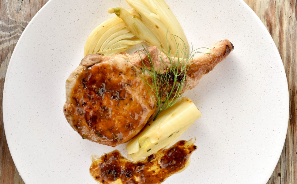 Pork cutlets with braised fennel