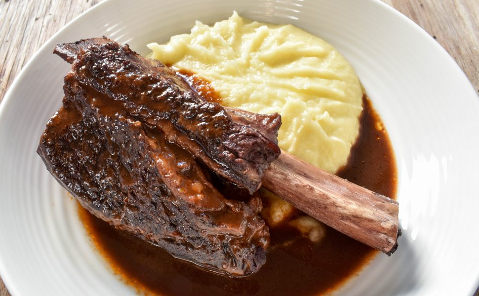 Slow cooked beef short ribs in red wine sauce