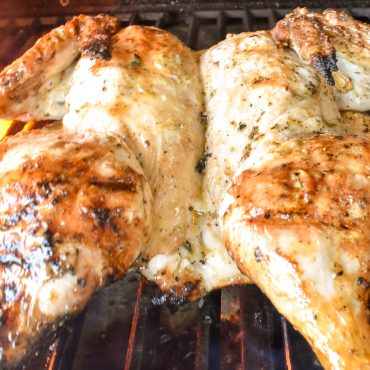 Barbecued Italian butterflied chicken
