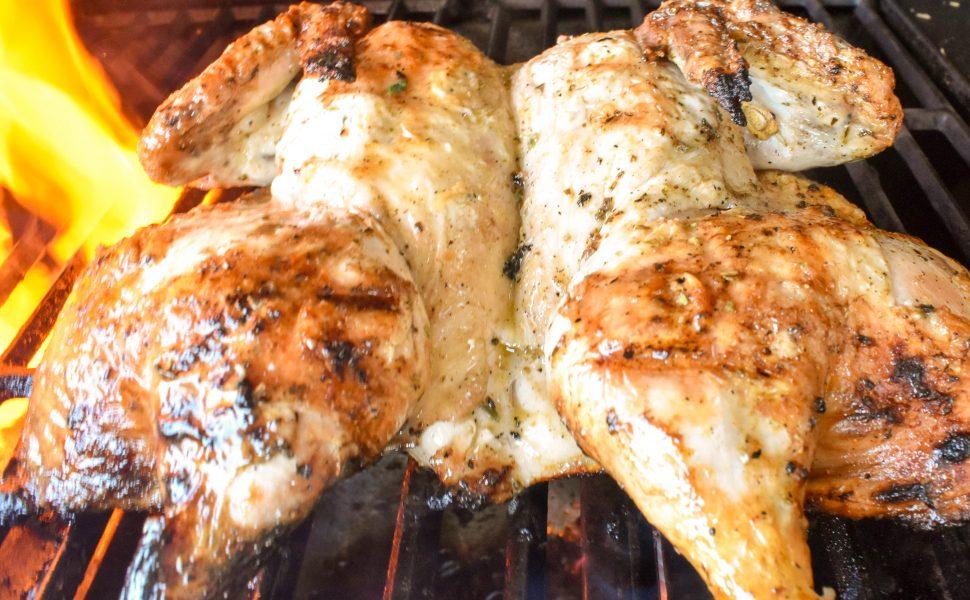 Barbecued Italian butterflied chicken