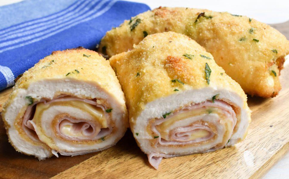 Involtini of 'cotoletta di pollo' (crumbed chicken schnitzel)