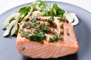 Oven baked salmon fillet with fennel salad