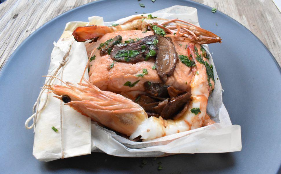 Salmon and prawns 'al cartoccio' (in paper parcel)