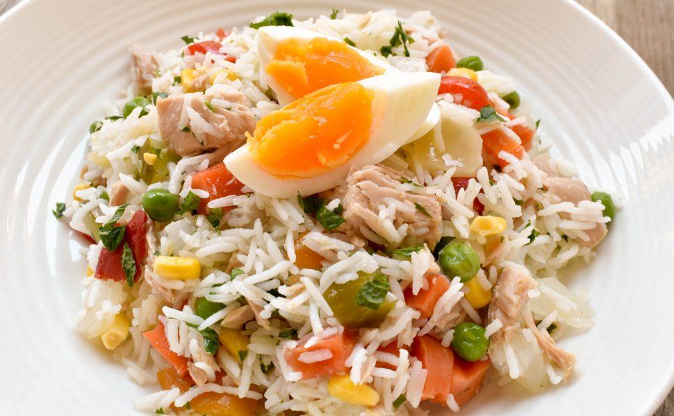 Insalata di riso (rice salad) with tuna, eggs and Italian Giardiniera (vegetables soaked in vinegar)