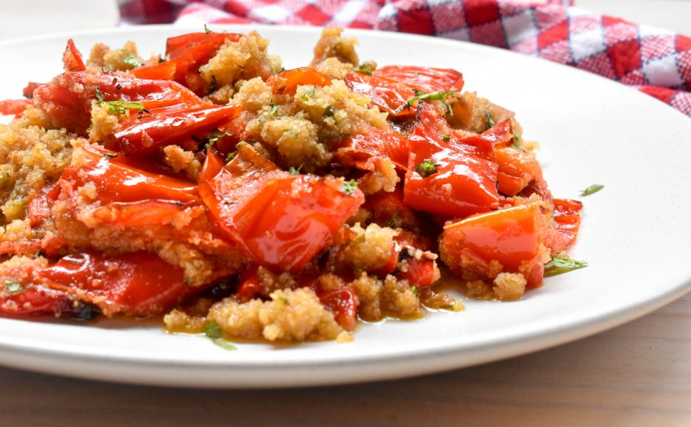 Oven baked capsicum with aromatic minty breadcrumbs