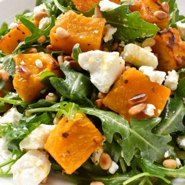 Pumpkin (squash), goat's cheese, pine nut and rocket salad