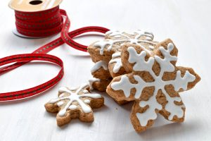 Snowflake gingerbread biscuits