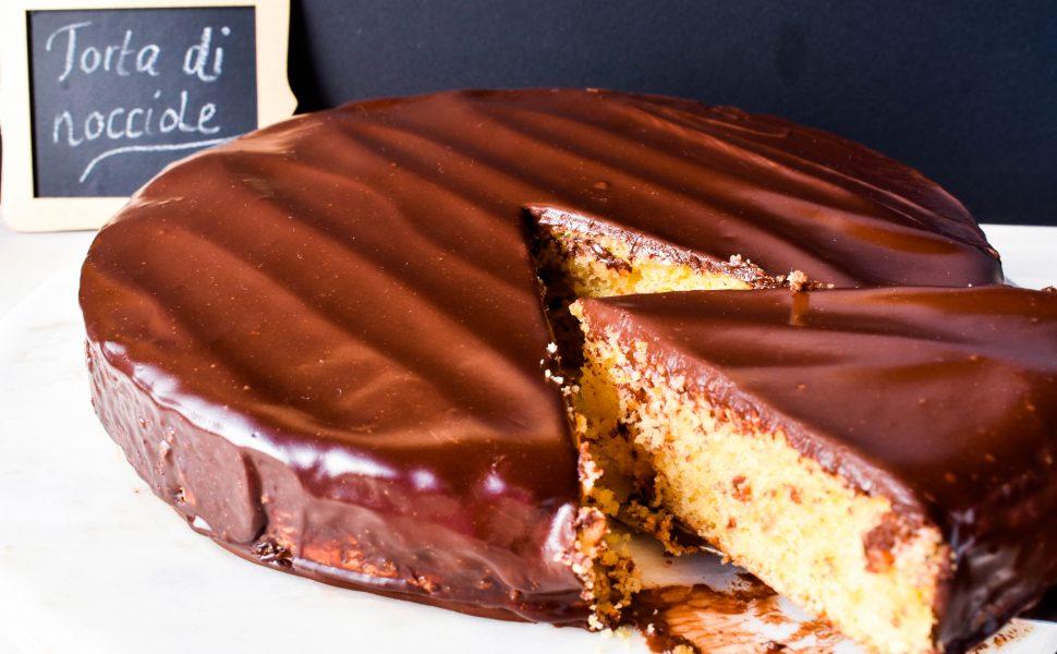 Torta di nocciole (hazelnut cake) with chocolate ganache