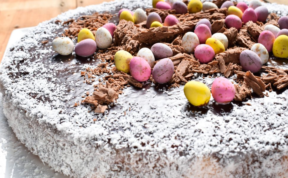 Easter 'torta di cocco' (coconut cake) with chocolate ganache topping