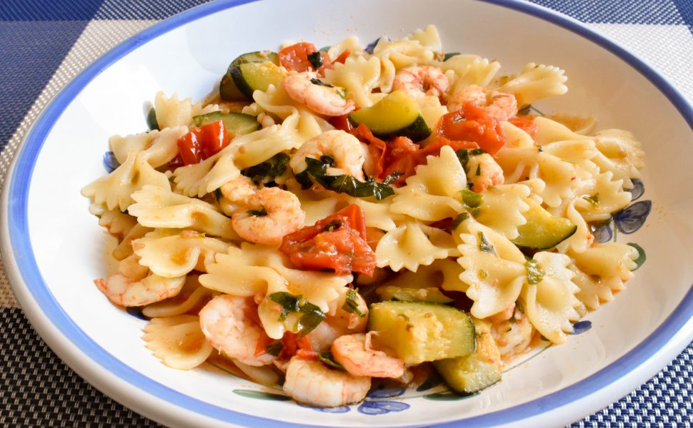 Farfalle pasta with zucchini and gamberetti (shrimp)