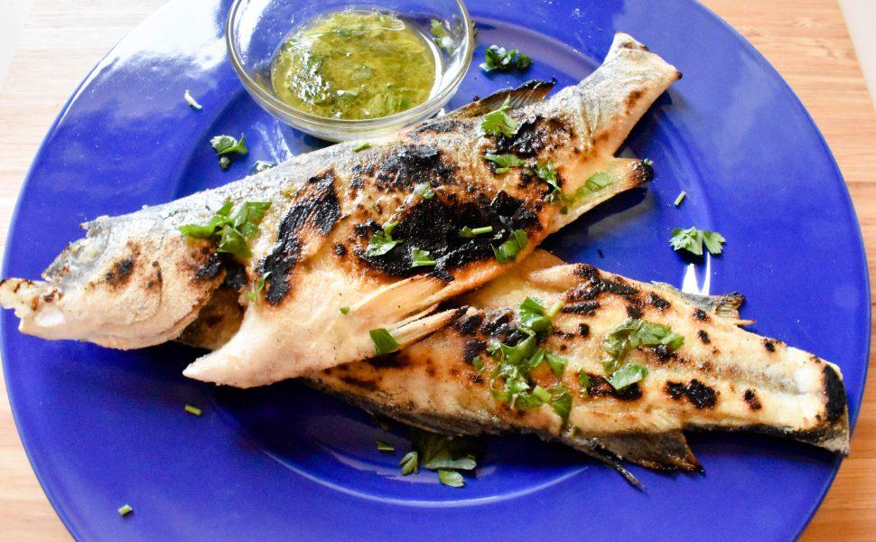 Spigola alla griglia (grilled sea bass) with Salmoriglio sauce
