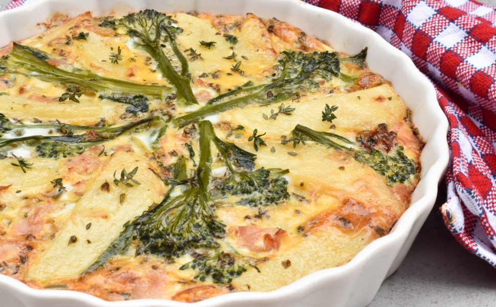 Baked frittata with potatoes and broccolini