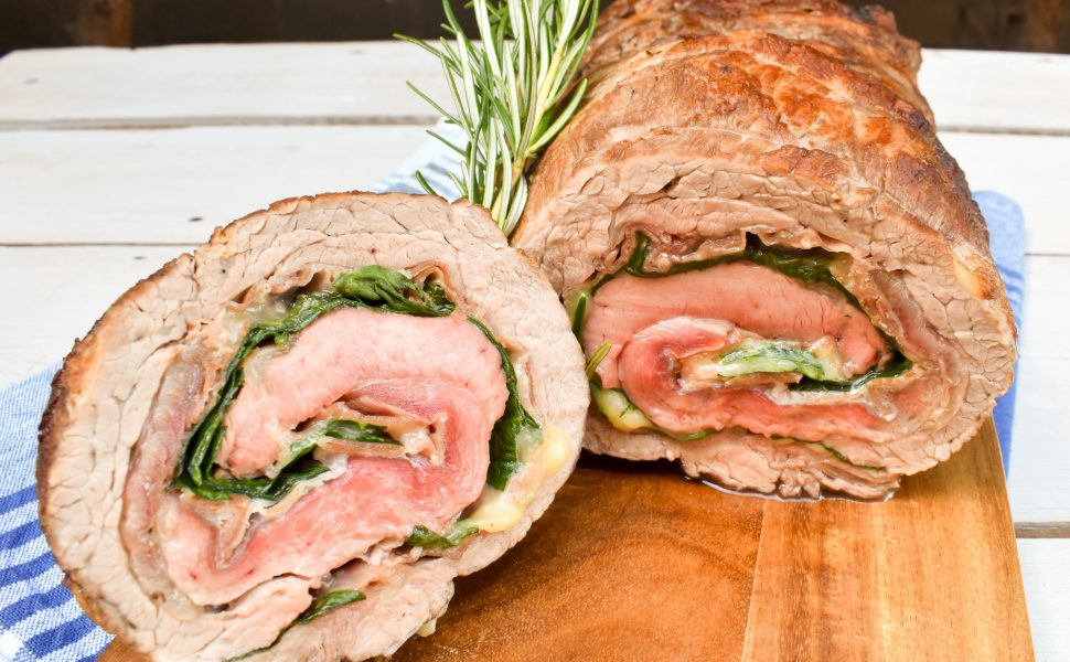 Rolled Beef Roast filled with prosciutto, mozzarella and spinach.