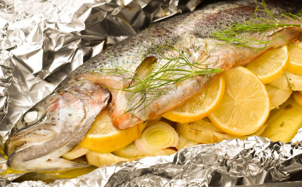 Baked rainbow trout with fennel, lemon and capers