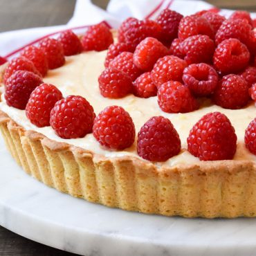 Raspberry and vanilla bean cream tart