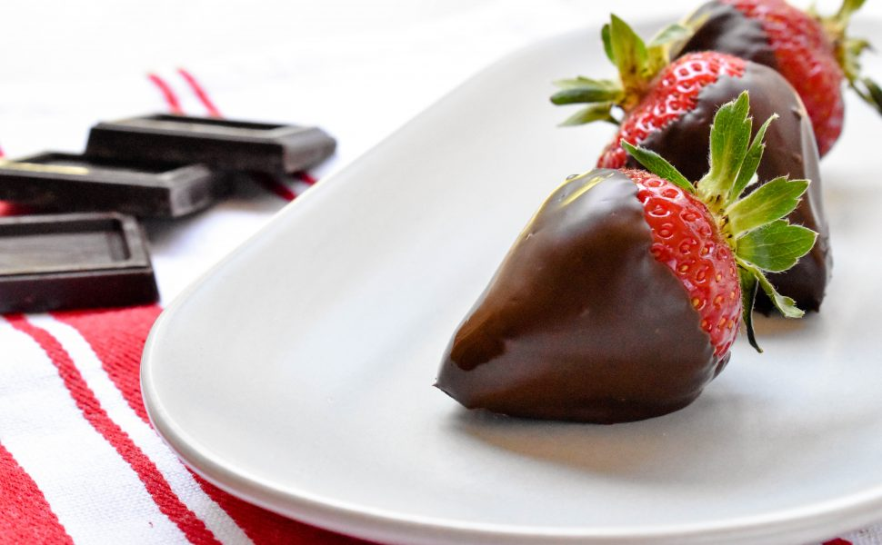 Dark chocolate coated strawberries