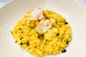 Risotto with rock lobster and zucchini