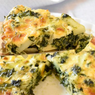 Baked frittata with spinach and potatoes