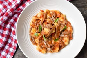 Potato gnocchi with duck and porcini ragu'