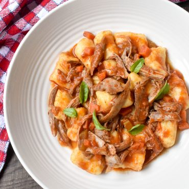 Potato gnocchi with duck and porcini ragu'