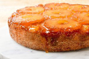 Upside down caramelized pineapple cake