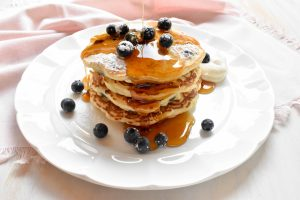 Blueberry and ricotta pancakes