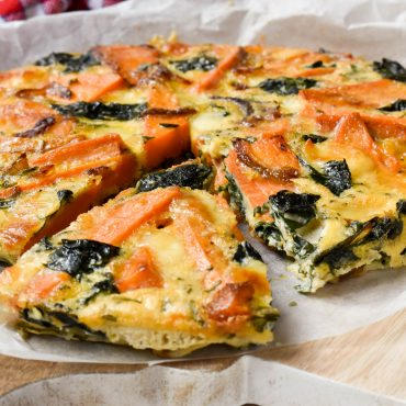 Sweet potato and silverbeet baked frittata