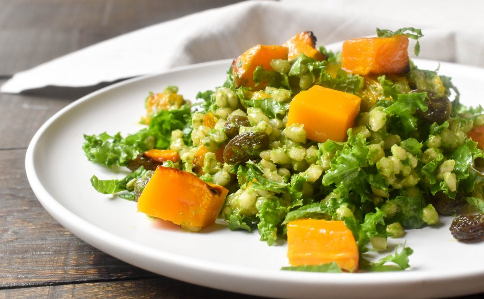 Roasted pumpkin, kale and barley salad