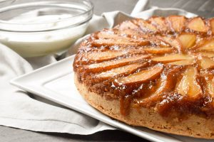 Caramelized upside down pear cake