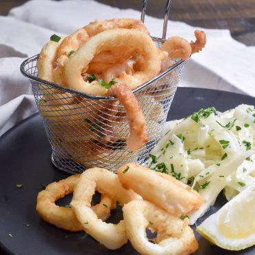 Crispy fried calamari